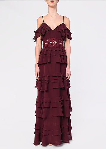 Burgundy Plunge Front Tiered Ruffle Maxi Dres