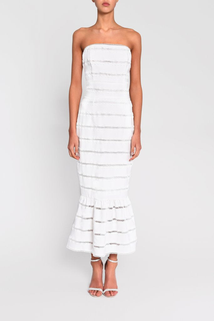 Load image into Gallery viewer, White Stripe Strapless Midaxi Dress