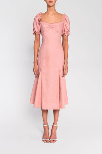 Dusty Pink Statement Sleeve Linen Midi Dress