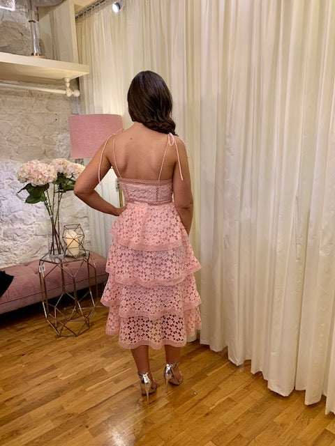 Load image into Gallery viewer, Pink Organza  Tiered Midi Dress