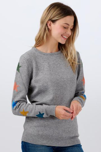 Stacey Star Sleeve Sweater - Grey