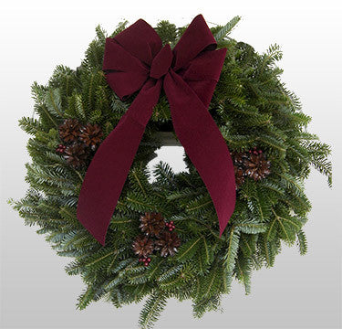 Fraser Fir Burgundy Bow Brown Cones