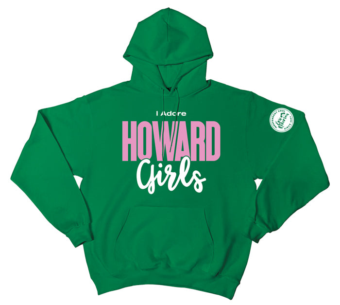 """I Adore Howard Girls"" Green Pullover Hood"