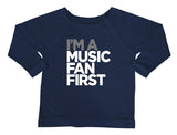 """I'm A Music Fan First"" Women's Off The Shoulder 3/4 Sleeve Shirt"