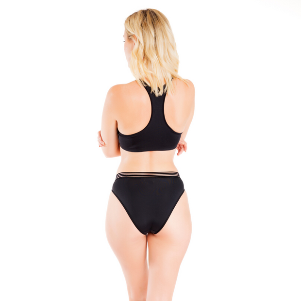 High Waisted Mesh Band Cheeky