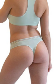 Misty Blue Mesh Band Thong