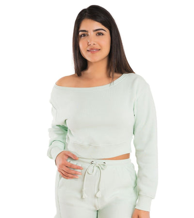 Off Shoulder Cropped Sweatshirt