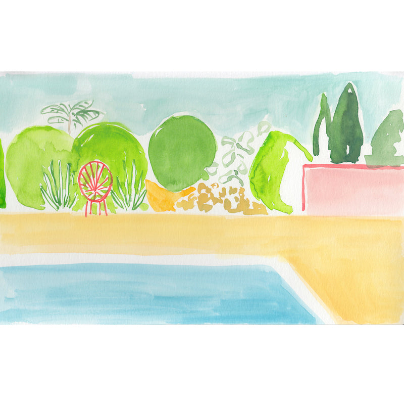 In her second collaboration with Hollywood at Home, artist and fashion designer Virginia Johnson created Palm Springs Pool, a nod to the mid-Century lifestyle in the desert. This piece comes matted in a classic white frame.