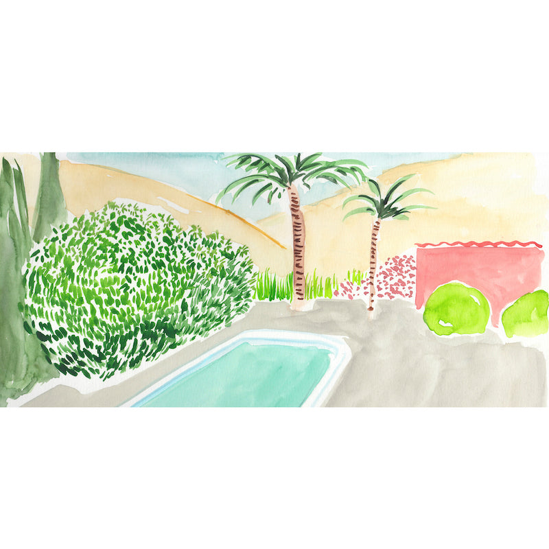 In her second collaboration with Hollywood at Home, artist and fashion designer Virginia Johnson created Pool with Palms, a covetable backyard vista. This piece comes matted in a classic white frame.