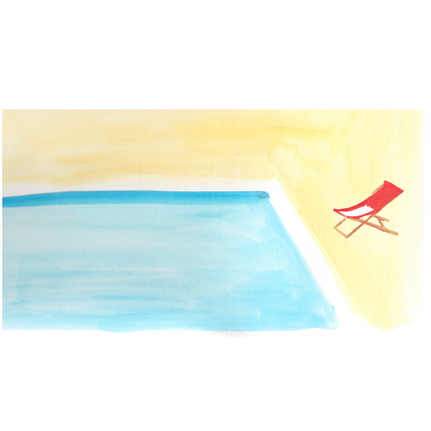 Pool with Red Chair by Virginia Johnson