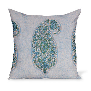 A beautiful linen Indian-style paisley print made from Peter Dunham Textiles' Isfahan linen in Blue and Green colors.