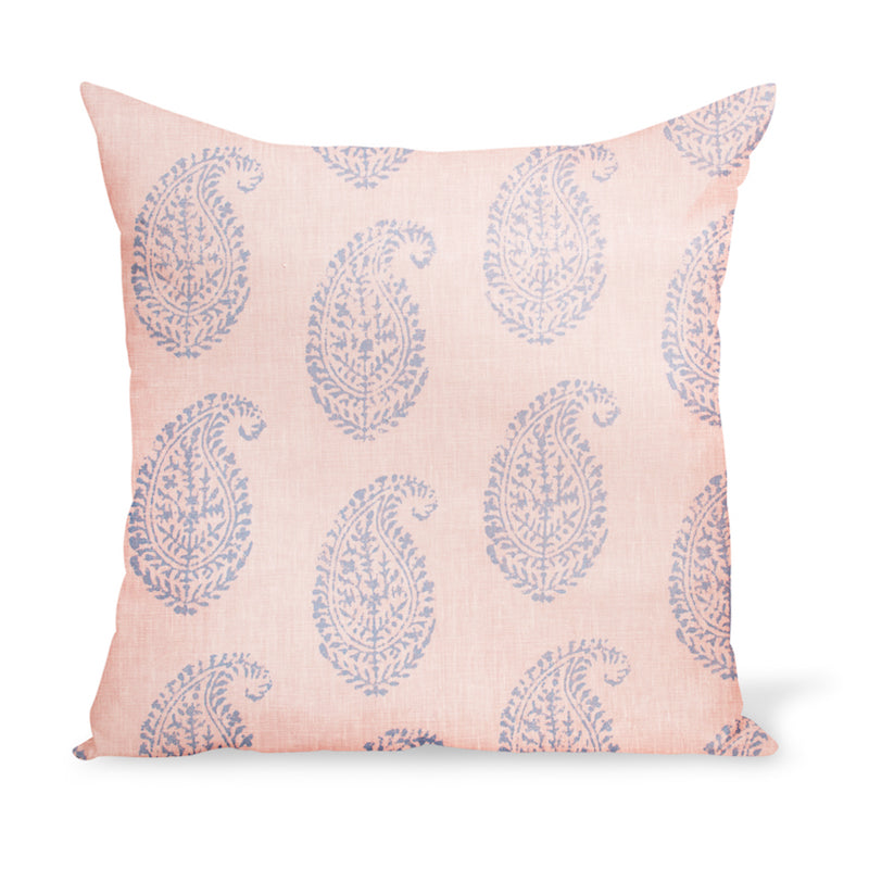 A decorative cushion made from one of Peter Dunham Textiles' best-selling linen prints, Kashmir Paisley, here in a blue and pink colorway.
