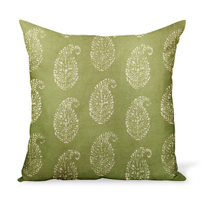 A decorative cushion made from one of Peter Dunham Textiles' best-selling linen prints, Kashmir Paisley, here in a green and tea color way. Indian block-print inspired!