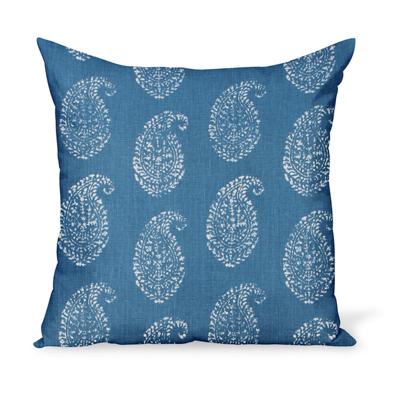 A decorative cushion made from one of Peter Dunham Textiles' best-selling linen prints, Kashmir Paisley, here in an indigo blue color way. Indian block-print inspired!