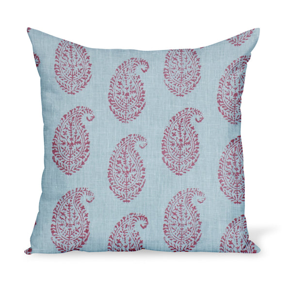 A decorative cushion made from one of Peter Dunham Textiles' best-selling linen prints, Kashmir Paisley, here in a red and blue colorway. Indian block-print inspired!