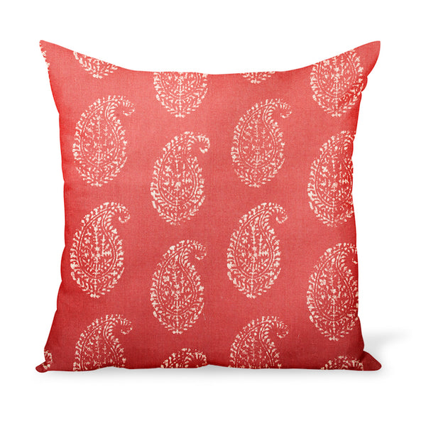 Peter Dunham Textiles Kashmir Paisley in Tea/Red Pillow