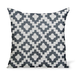 A decorative cushion made from one of Peter Dunham Textiles' best-selling linen prints, Peterazzi, here in Charcoal.