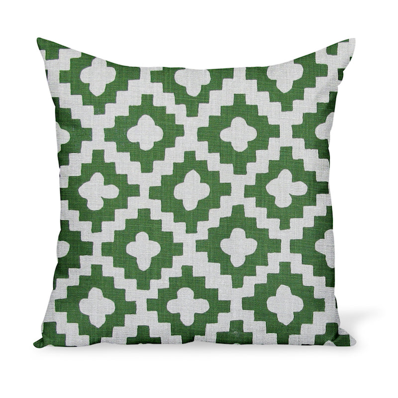 A decorative cushion made from one of Peter Dunham Textiles' best-selling linen prints, Peterazzi, here in Green.