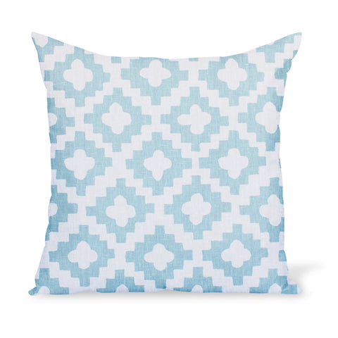 A decorative cushion made from one of Peter Dunham Textiles' best-selling linen prints, Peterazzi, here in Pale Blue.