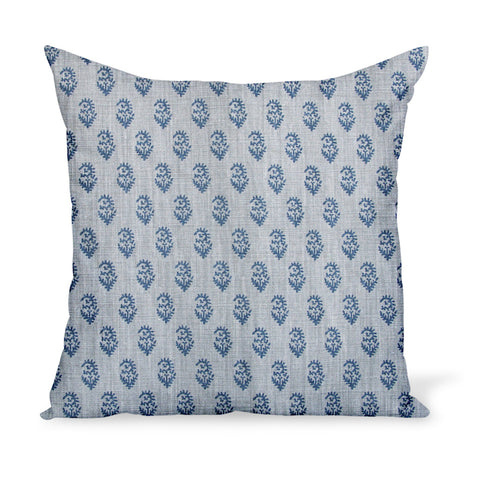 Peter Dunham Textiles' small-scale paisley linen print, Rajamata Tonal in Indigo blue and Misty gray colors--a wonderful way to add personality with a decorative pillow or cushion.