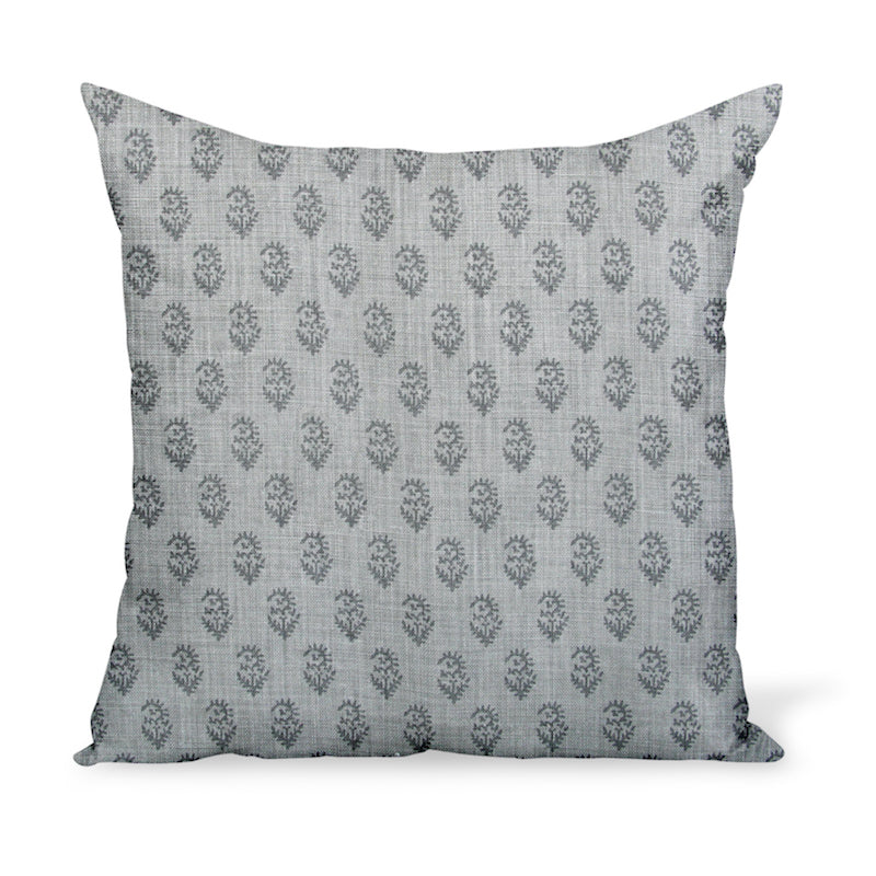 Peter Dunham Textiles' small-scale paisley linen print, Rajamata Tonal in Ash & Gray colors--a wonderful way to add personality with a decorative pillow or cushion.