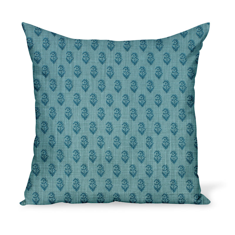 Peter Dunham Textiles' small-scale paisley linen print, Rajamata Tonal in Blue colors--a wonderful way to add personality with a decorative pillow or cushion.