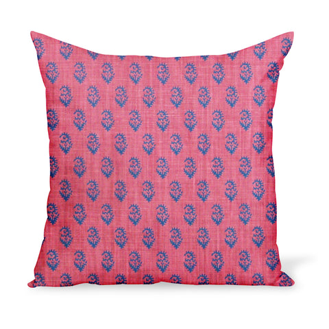 Peter Dunham Textiles' small-scale paisley linen print, Rajamata Tonal in Blue and Red colors--a wonderful way to add personality with a decorative pillow or cushion.