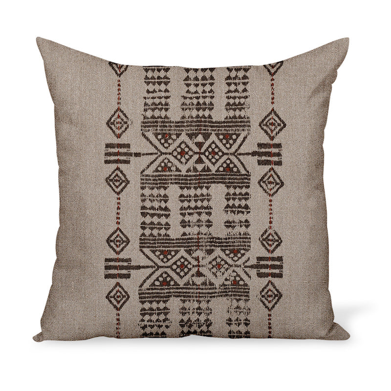 Sheba in Brick is a tribal linen print from Peter Dunham Textiles. The decorative cushion or pillow is available in a variety of sizes!