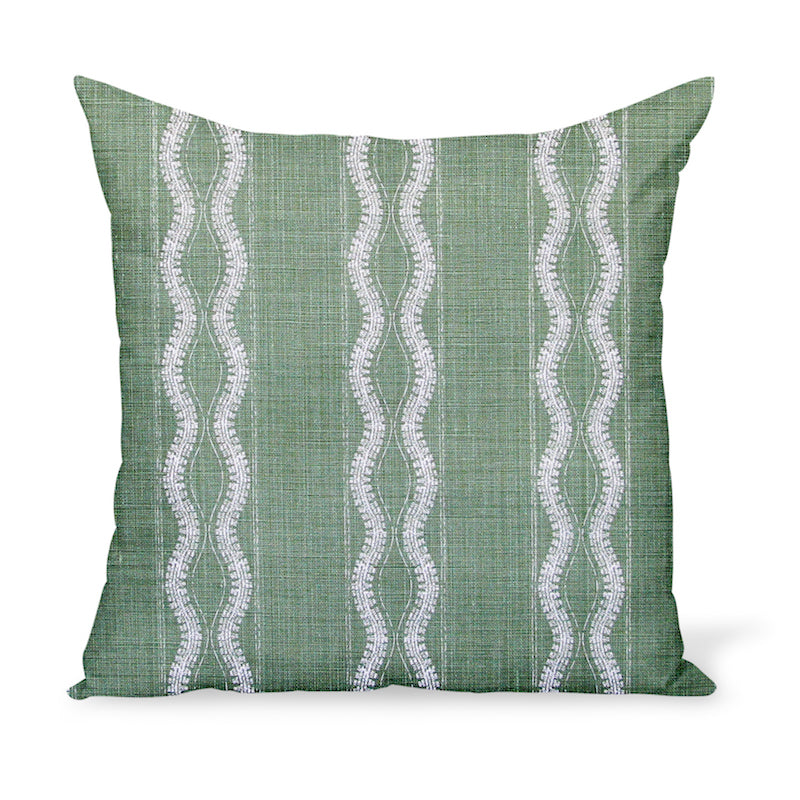 Peter Dunham Textiles' linen print Zanzibar in Green makes for a cheerful yet graphic decorative pillow. These cushions are available in a variety of sizes!