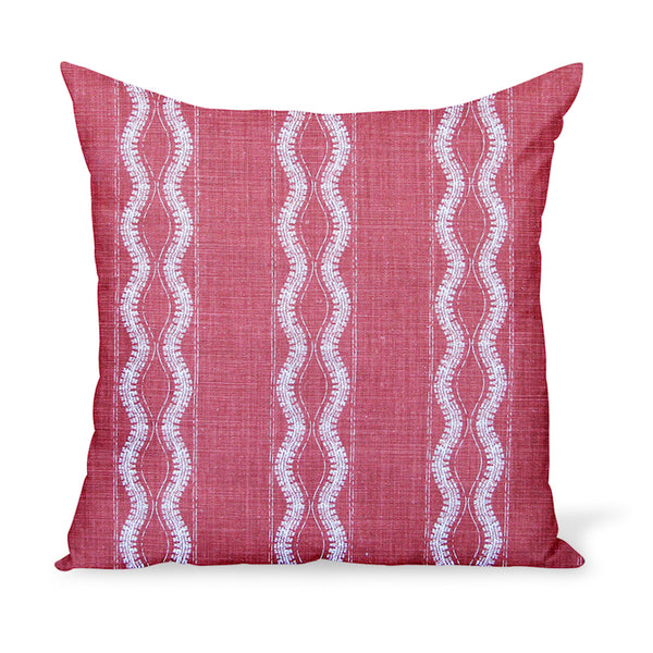 Peter Dunham Textiles' linen print Zanzibar in Red makes for a cheerful yet graphic decorative pillow. These cushions are available in a variety of sizes!