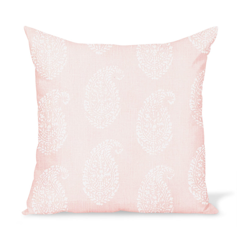 Peter Dunham Textiles Kashmir Paisley in White/Pink Pillow