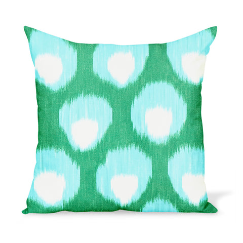 Peter Dunham Textiles Outdoor Bukhara in Green/Blue Pillow