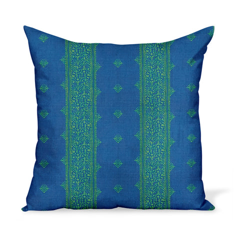 Peter Dunham Textiles Outdoor Fez in Green/Indigo Pillow
