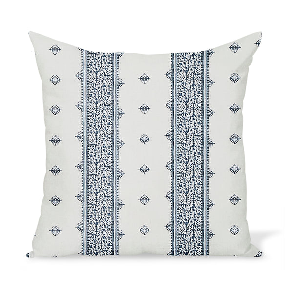 Peter Dunham Textiles Outdoor Fez in Blue on White Pillow