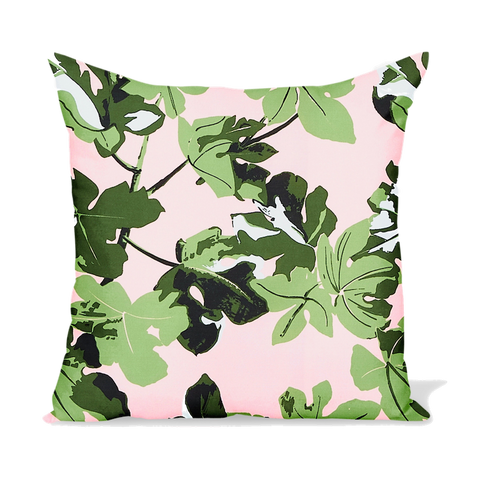 Peter Dunham Textiles Outdoor Fig Leaf in Original on Pink Pillow