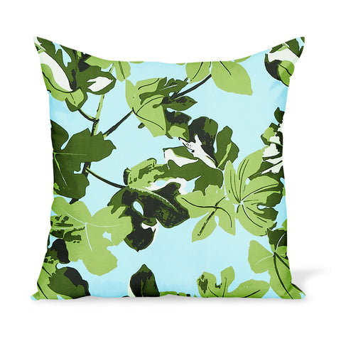 Peter Dunham Textiles Outdoor Fig Leaf in Original on Blue Pillow