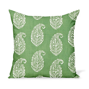 Peter Dunham Textiles Outdoor Kashmir Paisley in Green Pillow