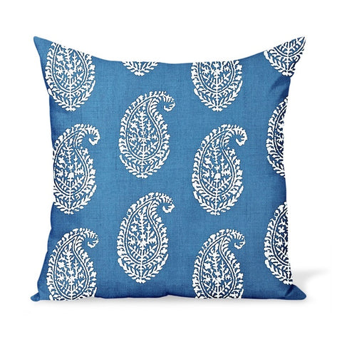 Peter Dunham Textiles Outdoor Kashmir Paisley in Indigo Pillow