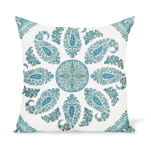 Outdoor paisley pillow by Peter Dunham Textiles, Samarkand in Blue/Green