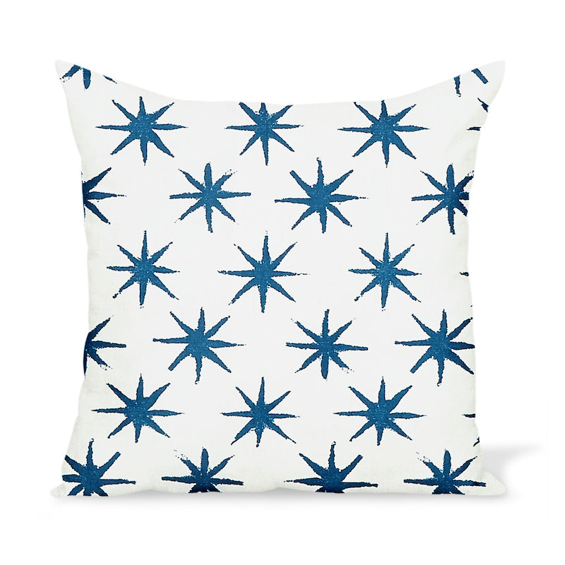 Outdoor pillow by Peter Dunham Textiles featuring a painterly star motif with artisan flair.