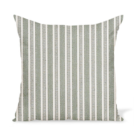 Peter Dunham Textiles Outdoor Amida in Green on Natural Pillow
