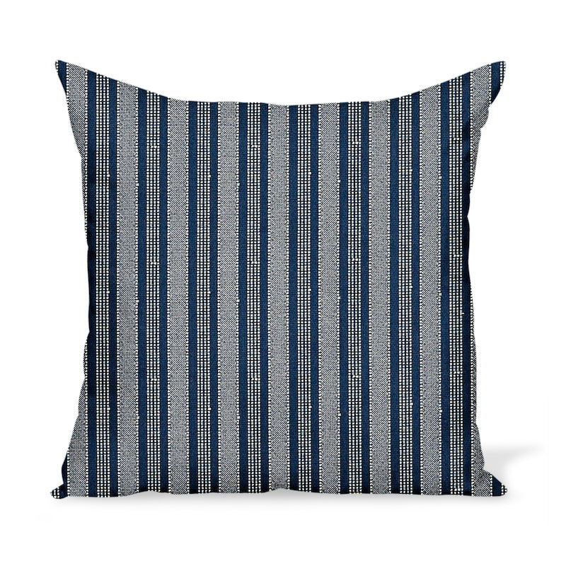 Peter Dunham Textiles Outdoor Amida in White on Indigo Pillow