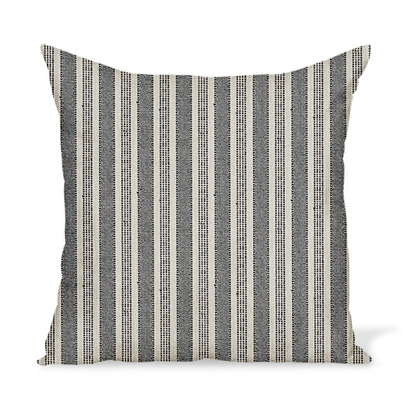 Peter Dunham Textiles Outdoor Amida in Charcoal on Natural Pillow