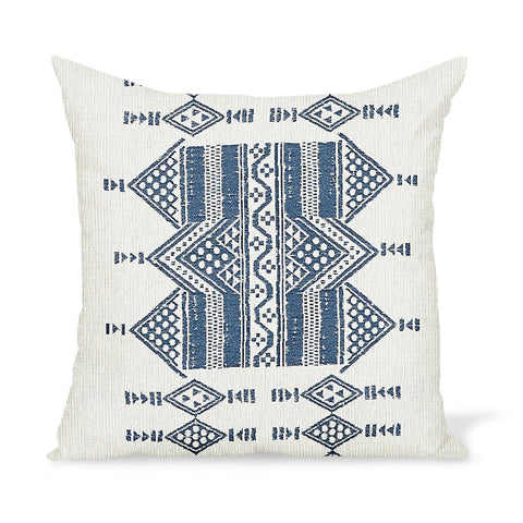 Peter Dunham Textiles Outdoor Mombasa in Indigo on Natural Pillow