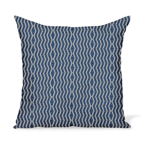 Peter Dunham Textiles Outdoor Persis in White on Indigo Pillow