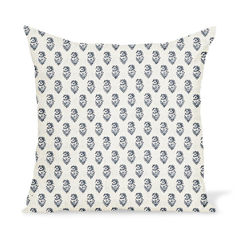 Peter Dunham Textiles Outdoor Rajmata in Indigo on Natural Pillow