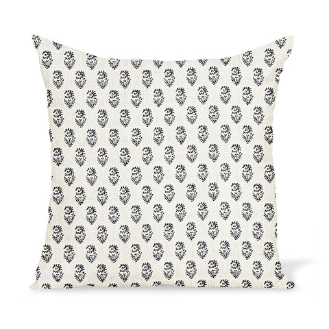 Peter Dunham Textiles Outdoor Rajmata in Black on Natural Pillow
