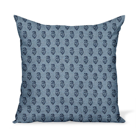 Peter Dunham Textiles Outdoor Rajmata in Indigo/Sky Pillow
