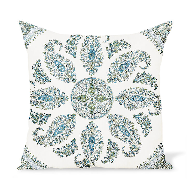 Peter Dunham Textiles Samarkand in Blue/Green on White Pillow