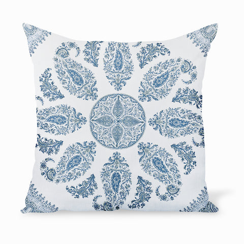 Best-sellilng fabric from Hollywood at Home founder Peter Dunham's eponymous textile collection. big, bold Indian Paisleys create a casual, sophisticated design. Decorative pillows or cushions available in indoor and outdoor qualities in a variety of sizes.